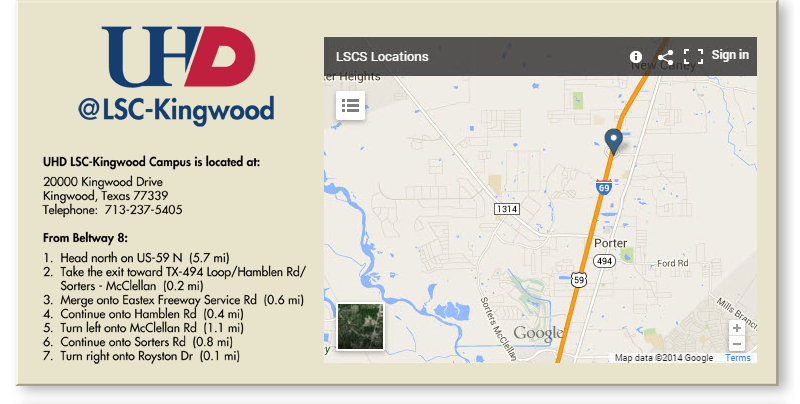 UHD Kingwood campus map