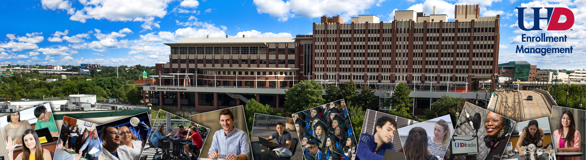 collage of UHD student photographs with a background of the One Main building